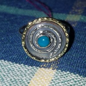 Two tone turquoise circle ring
